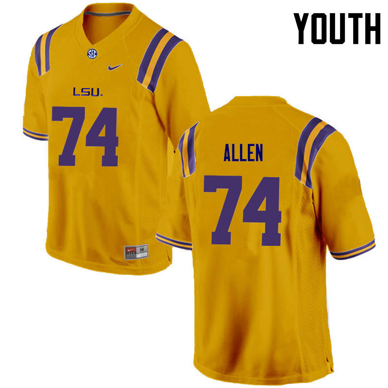 Youth LSU Tigers #74 Willie Allen College Football Jerseys Game-Gold