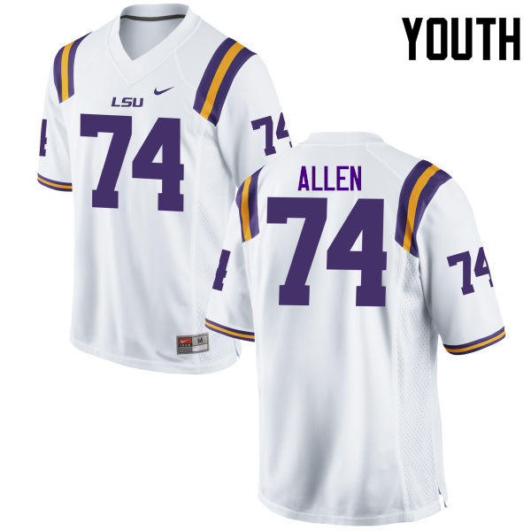 Youth LSU Tigers #74 Willie Allen College Football Jerseys Game-White