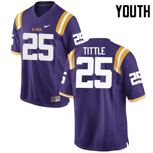Youth LSU Tigers #25 Y. A. Tittle College Football Jerseys Game-Purple