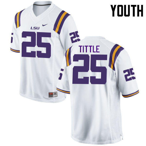 Youth LSU Tigers #25 Y. A. Tittle College Football Jerseys Game-White